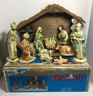 Vintage Christmas Nativity Set Plaster Chalk  Wood Made in Japan W Box