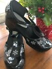 LN Hanna Andersson Patent Black Holiday Snowflake Clogs Mary Jane 36 Dress Shoe