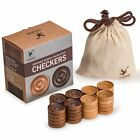 Wooden Italian Style Checker Pieces w Stackable Ridges Drawstring Pouch