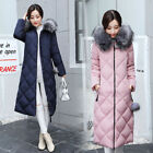 Winter Womens long Quilted Jacket Down Cotton Parka Fur Collar Hooded Coat HOT