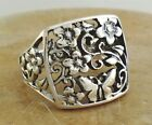LARGE 925 STERLING SILVER FILIGREE BUTTERFLY FLOWER RING size 9 style r1860