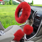 3pcsset Pink Soft Plush Wool Steering Wheel Cover Furry Fluffy Car Accessory