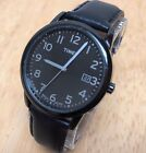 Timex Indiglo Mens 30m All Black Leather Analog Quartz Watch Hours~New Battery