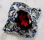 2CT  Fire Garnet & Sapphire 925 Solid Sterling Silver Filigree Ring Jewelry Sz 8
