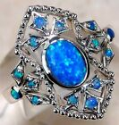 2CT Blue Fire Opal 925 Solid Sterling Silver Filigree Ring Jewelry Sz 8