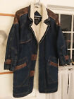 Vintage Denim Faux Shearling  Genuine Leather Coat Jacket Womens Small Warm