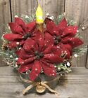 Primitive Handmade Winter Christmas Holiday Poinsettia Timer Candle Oval Tin Tub
