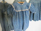 Old Primitive Cadet Blue White Calico Fabric Rag Doll Dress American Find  AAFA