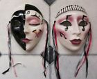 TWO Clay Art Ceramic Face Masks,  Art Deco Style Musical Theme Wall Hanging