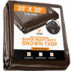 20 x 30 Super Heavy Duty 16 Mil Brown Poly Tarp Cover Thick Waterproof