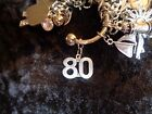 Celebrate 80 pound Weight Loss w 80 Lrg Charm for Weight Watchers Keychain