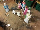 Vintage Small Empire Lighted Nativity Blow Mold Set 9 peices