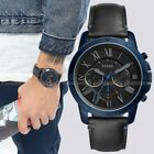 NWT Fossil FS5342 Men's Black Dial Chronograph Grant Black Leather 44mm Watch