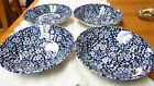 4 VICTORIAN  CALICO BLUE (Queen's by Churchill ) Pudding Soup Cereal Bowl New