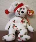 Ty Beanie Baby – 1998 Holiday Teddy – White with Mistletoe & Berries - MWMTs