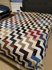 Vintage Quilt Top Large Triple Row Fence Vintage Fabrics Chevron Full Size