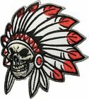 Native American Indian Chief Feather Skull Sew Iron on Patch SKUL-HEAD-INDI-AN02