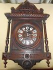 Pretty Antique French Wall Clock Lecland Mirecourt Walnut Case