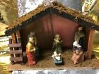 Lighted Nativity Mary Baby Jesus Joseph Wise Men Wood Stable 2 AA Batteries