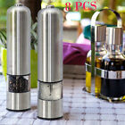 2 Automatic Electric Stainless Steel Pepper Salt Grinder Spice Sauce Muller Mill