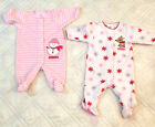 lot of 2 infant baby girl 0 3 month CARTERS Christmas fleece footed sleepers pjs