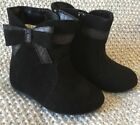 Adorable Black Faux Suede Teeny Toes Baby Toddler Boots 4 EUC