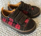 Adorable Baby Gap Toddler Boy Girl Shoes Sneakers Red Plaid Leather Suede 5 EUC