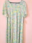 NEW LuLaRoe CARLY 3XL Green pink blue flowers floral Roses Cute NWT