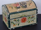 Antique Folk Art Small Painted Dome-Top NY State Wooden Box-AAFA