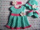 SALE NEW Hand Crochet Baby Girl DRESS SET OUTFIT PREEMIE MINT PINK