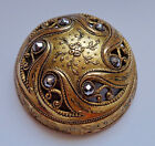 XL ANTIQUE HIGHLY DOMED PIERCED METAL BUTTON w CUT STEELS 1  5 8