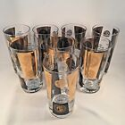 Cera Mid Century 1960s Glasses set 8 Gold Black USA Dollar Coin Tumbler Exc 6