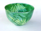 Enamel Copper Bowl Green Fern Mid Century Modern SIGNED A.C. Ross