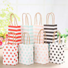 20Pcs Small Striped Kraft Paper Gift Bag With Recyclable Handle Loot Bags Tote