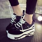Womens Round Toe Platform Creeper Casual Sports Lace Up Sneakers Shoes F911