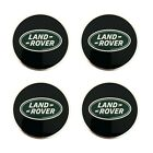 Land Rover Black with Green Oval Polished Wheel Center Hub Caps Set Genuine