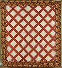Green Triple Irish Chain Antique Quilt ~NICE CHINTZ BORDER!