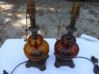 Old Timey Style Amber Glass Table Lamps