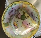 VINTAGE TEACUP AND SAUCER VICTORIAN FLORAL DESIGN HAND PAINTED