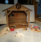 1992 Enesco Nativity Holy Family Figurine Set with Lighted Stable