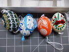 VINTAGE CZECH HAND PAINTED SET OF 4 EGG ORNAMENTS WITH BOX
