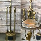 Vtg Antique Nelson Mnfg Hearth Fireplace Tool Kit Brass Hammered Mid century