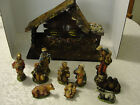 Vintage Christmas Manger Nativity with 10 Figures Marked Italy