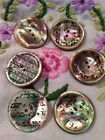 6 antique mop buttons with lovely design hand painted perfect for any collection