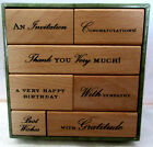 Anna Griffin Wood Mount Stamp Set of 7 With Sympathy Gratitude Thank You