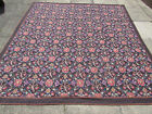 Old Hand Made French Design Purple Wool original Needlepoint Rug 245X232cm
