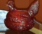 Vintage L E Smith Chicken Hen on Nest Ruby Red Pressed Glass Covered Dish #820