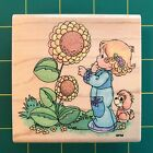 Stampendous 1995 Precious Moments The Skys The Limit Rubber Stamp Sunflowers