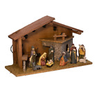 Kurt Adler Nativity Pieces with Figures and Lighted Wooden Stable Set of 10