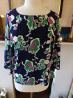 Banana Republic Top Blouse Navy Blue with Pink Green Flowers Cute size M